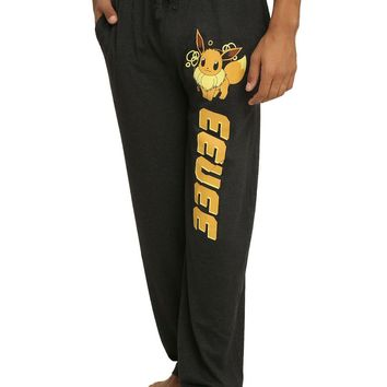 Licensed cool Pokemon EEVEE Adult Charcoal Heather Pajama Lounge Pants Nintendo  SHIP NEW