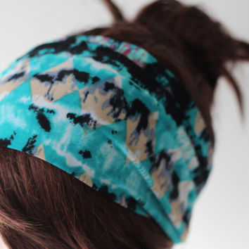 Diamond Pattern Turban Head Wrap Teal Green Black Beige, Women's Yoga Headband, Turband, Wide Head / Hair Band
