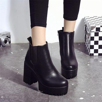 Women Boots Square Heel Platforms Leather Thigh High Pump Boots Shoes Woman botas ug australia mujer Female Winter Boots966