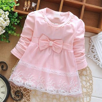 DreamShining Spring Baby Girl Dress Long Sleeve Lace Bow Kids Clothes Party Princess Dress Children Baby 1 Year Birthday Dresses