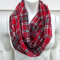 Women's Red and Green Christmas Scarf-Holiday Flannel Plaid Infinity Scarf-Handmade Gifts For Her-Winter Chunky Scarf-Toddler Kid's Scarf