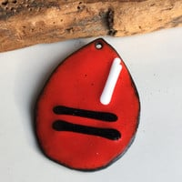 Enamel on Copper Pendant, Red Enamel, Black Enamel, White Enamel, Teardrop Pendant, Kiln Fired, Handmade Pendant, Destashed Pendant