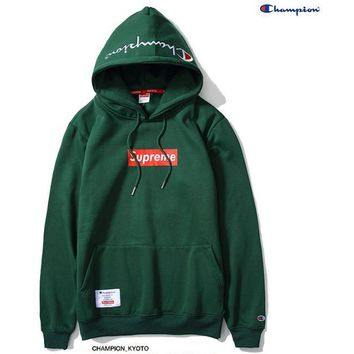 Supreme Champion Contracted hooded sweater Green