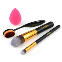 Makeup Oval Brush Set Blender Sponge Kabuki Foundation Cosmetics Powder