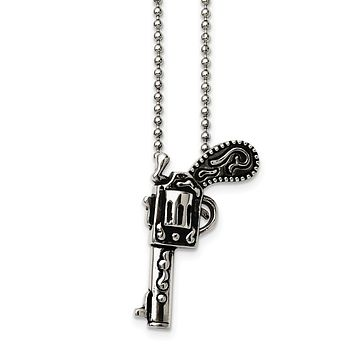 Stainless Steel Antiqued Pistol Pendant Necklace 24 Inch