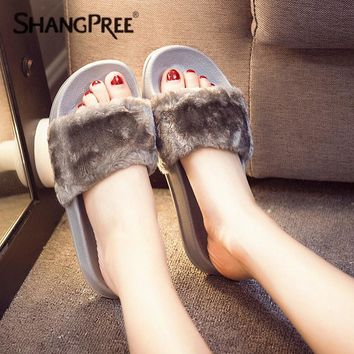 large Size 36-41 Hot Women Slippers Fashion Spring Summer Autumn  Plush Slippers Women Faux Fur Slides Flip Flops Flat Shoes