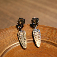 Sale - One of a Kind Sea Urchin Texture Casting Bronze with Smokey Quarts in Basket Setting Dangly Stud Earrings