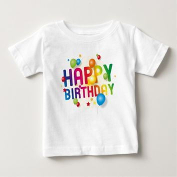 Happy Birthday Balloons Rainbow Baby T-Shirt