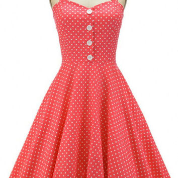 Women's Button Back Lace Polka Dot Dress