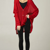 LIGHTWEIGHT BUTTON UP KNIT CARDIGAN - RED