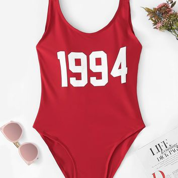 1994 Letter Print Low Back One Piece Red Swimsuit