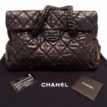 CHANEL Black Lambskin Leather Quilted Hidden Chain Medium Satchel Flap Tote Bag