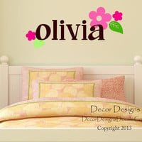 Personalized Name Wall Decal With Dahlia Flowers - by Decor Designs Decals, Girls Name Wall Decal - Flowers Decal - Baby Girl Nursery Wall Decal - Teen Room Decal 51989