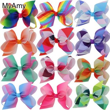 MyAmy 24pcs/lot  6'' grosgrain ribbon hair bows WITH alligator hair clips boutique rainbows bow girls hairbow For Teens Gift