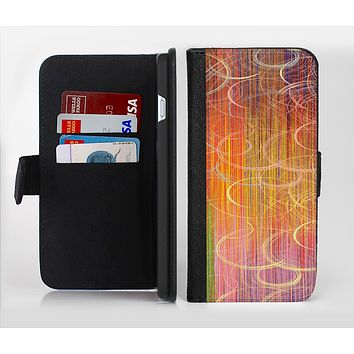 The Colorful Stripes and Swirls V43 Ink-Fuzed Leather Folding Wallet Credit-Card Case for the Apple iPhone 6/6s, 6/6s Plus, 5/5s and 5c
