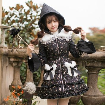 Candy rain Princess sweet lolita parkas in the winter of women's original and cute Japanese Sweet Princess female C22CD7239