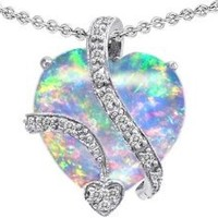 Star K Large 15mm Heart Shape Simulated Opal Love Pendant