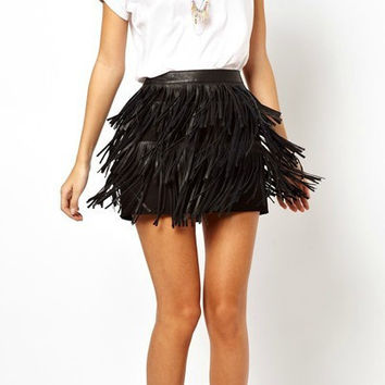Leather fashion tassels skirt