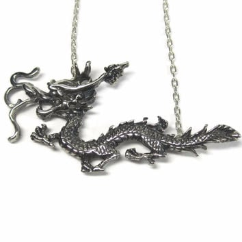 Vintage Chinese Dragon Necklace Sterling