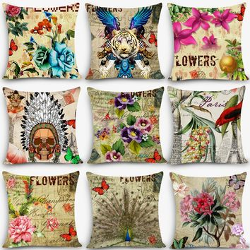 """2017 New flower pillows floral butterfly Home Decorative Cushion Throw Pillow 18"""" Vintage Cotton Linen Square pillowcase MYJ-B6"""