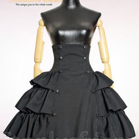 Gothic Lolita High Waist Lacing Up Tiered Skirt Instant Shipping