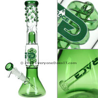 Grace Glass Ice Bong with Green Spiral Percolater