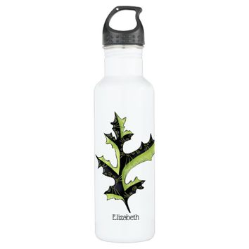Decorative Oak Leaf With Tattoos Custom Name Stainless Steel Water Bottle