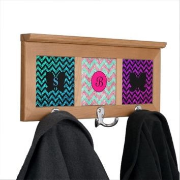 Monogram this Chevron pattern Coat Rack