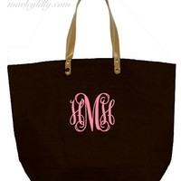Monogrammed Black Large Jute Bag