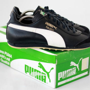 NEW Vintage Puma Toledo Sneakers // Made in Yugoslavia // 70s Leather Shoes Trainers Mint Condition size 5.5UK  8US w  38.5Eu