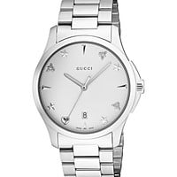 Gucci Quartz Stainless Steel Casual Silver-Toned Watch(Model: YA1264028)