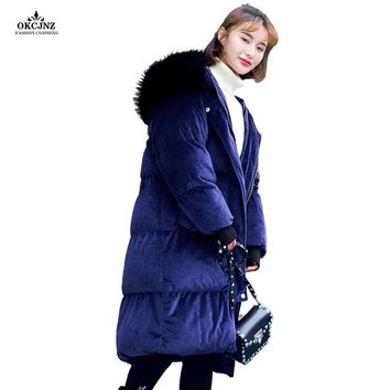Women Winter Down Parka 2017 New Flannel Wadded Outerwear X-Long Cotton Coat Fur Collar Thick Warm Oversize Female Jackets OK46T