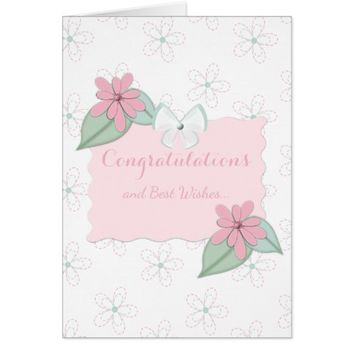 Wedding Day Card pink & green floral