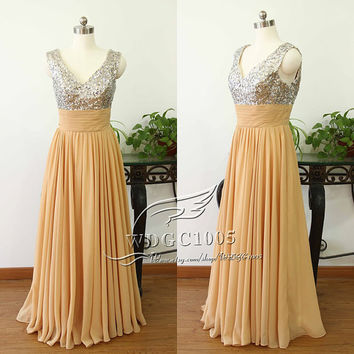 Long Champagne Prom Dress, Sexy V evening Gown prom dress, golden sequins Prom Dresses party dresses beauty dress