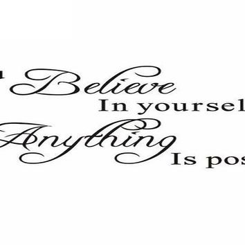 Believe in Yourself Home Decor Creative Quote Wall  Sticker
