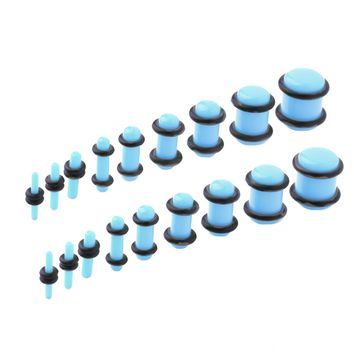 BodyJ4You 18PCS Plugs Stretching Kit 14G-00G Light Blue Ear Gauges Set Acrylic Double O-Ring Expanders