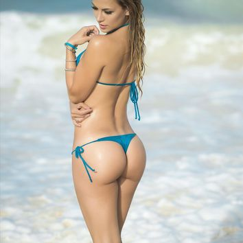 Designer Blue String Swimsuit Set