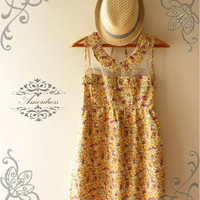NEW TODAY Amor Vintage Inspired Adore Me Sunshine Yellow Floral Dress Sleeveless Cute See Through Detail Top -Fit Size S-M-
