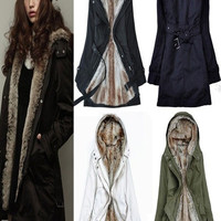 Women's Fashion Winter Warm Thicken Fleece Faux Fur Coat Overcoat Outfit Jacket