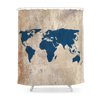 Society6 Rustic World Map Shower Curtains