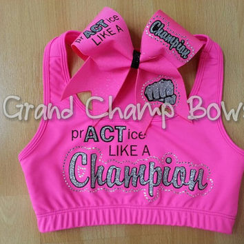 PrACTice like a Champion Full Set Sports Bra Cheer Hair Bow Cheerleader Dancer Dance Rhinestone Bling Glitz
