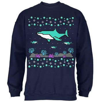 LMFCY8 Ugly Christmas Sweater Shark Coral Reef Mens Sweatshirt