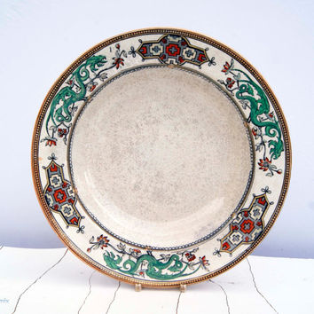 Earthenware B.P.Co 'Dragon' Brownhills Pottery Co 1872-1896 Set of 3 bowls/soup serving plates