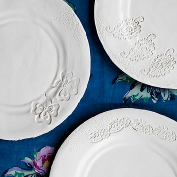 Foglia - White Porcelain Dinner Plate
