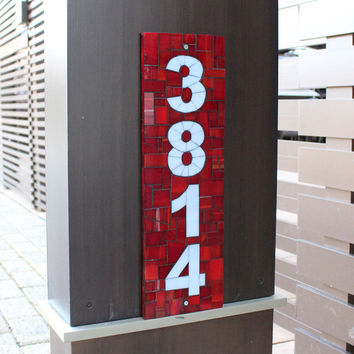 Custom Vertical Red and Gray Mosaic Outdoor House Number, Address Sign in Stained Glass