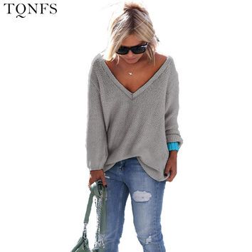 2016 Women Sweater And Pullovers Sweater Women V-neck Autumn Long Sleeve Loose Women Sweater Sueter Mujer Jumper Women