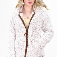 Faux Sherpa Full Zip Hooded Jacket {Off White/Brown}