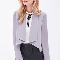 LOVE 21 Open-Front Shawl Collar Jacket Taupe