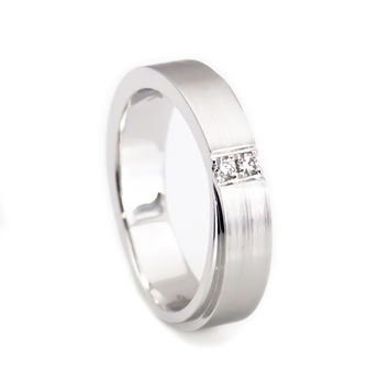 Her 14k white gold wedding band two diamonds set 5mm