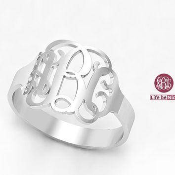 Monogram Ring Bridesmaids Ring  Personalized Ring Monogram Jewelry  Monogrammed Sterling Silver Rings  Engraved Ring 925 Sterling silver